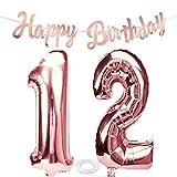 SNOWZAN Globo de 12º cumpleaños en oro rosa para niña, número 12, globos gigantes de helio, número 12, globos con números grandes de 12 años, XXL, guirnalda de 32 pulgadas, número 12, para fiesta
