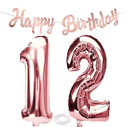 SNOWZAN Luftballon 12. Geburtstag Rosegold Mädchen Zahl 12 Riesen Folienballon Helium Nummer 12 Luftballon Große Zahlen 12 Jahre XXL 12. Happy Birthday Banner Girlande 32 Zoll Riese Zahl 12 für Party
