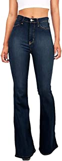 LightlyKiss Womens Star Bell Bottom Stretchy Jeans Plus-Size Skinny Pants for Petite Girl Blue