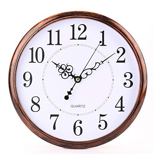 Tebery Reloj De Pared Diseño Clásico Para Exteriores/Interiores Con Gran Cara De 12 Pulgadas, Silencioso