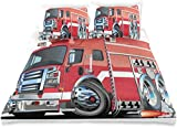 Juego de funda nórdica Camión de bomberos grande con equipos de emergencia Equipo de rescate de seguridad universal Motor Dibujos animados decorativos Juego de cama de 3 piezas con 2 fundas de almohad