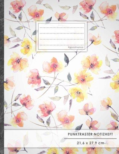 """Punktraster Notizbuch • A4-Format, 100+ Seiten, Soft Cover, Register, """"Bluming"""" • Original #GoodMemos Dot Grid Notebook • Perfekt als Skizzenbuch, Tagebuch, Handlettering Übungsbuch"""