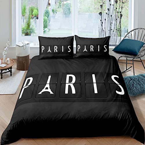 Feelyou Paris Bettbezug-Set Frankreich Eiffelturm Bettwäsche-Set, dekorativ, schick, Paris-Thema, Tagesdecke, Queen-Size, Mikrofaser, ohne Steppdecke, modern, Schwarz & Weiß