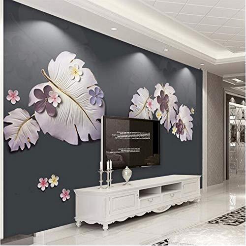 Pmhc eenvoudig behang Het behang 3D laat kleine bloemenreliëfs driedimensionaal achtergrond wandkamerbehang 3D 120 x 100 cm.