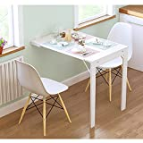 Gabinete de escritorio plegable de madera para montaje en pared, escritorio plegable convertible, escritorio flotante, mesa de comedor para oficina en casa, mesa para computadora portátil, color blanc