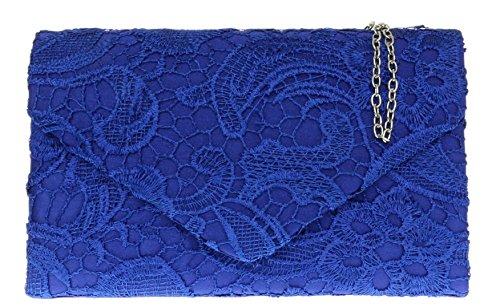 Girly Handbags Satin Spitze Handtasche Hochzeit Clutch (Königsblau)