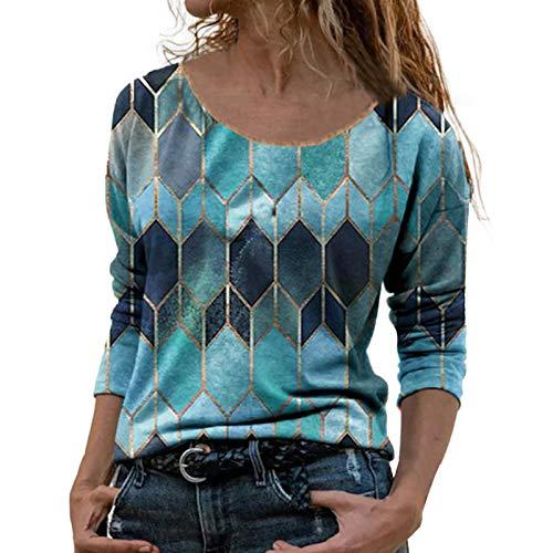 Blusa de manga larga para mujer, moda de mujer, cuello redondo, retales, estampado retro, manga larga, blusa impresa, blusa para mujer, para regalos de Pascua, San Patricio, color azul y XXL