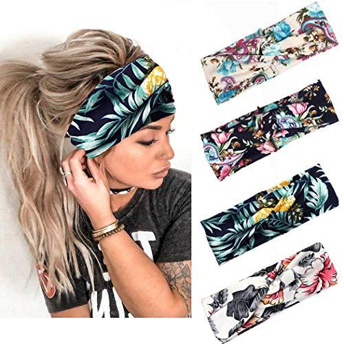 Handcess Boho - Diademas elásticas para el pelo para mujeres y niñas (4 unidades), color negro