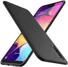 HOUROC Funda Samsung Galaxy A50, Funda Protectora de TPU Ultra Suave y Ultra Delgada como Antideslizante a Prueba de Golpes, Delgada Pero Duradera para teléfonos Samsung Galaxy A50. Negro