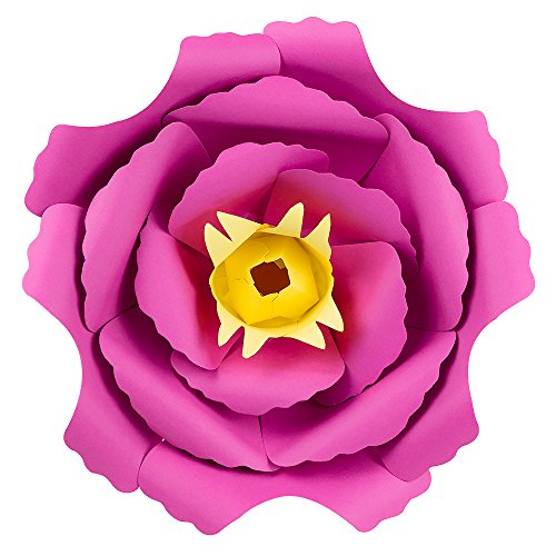 "PaperLanternStore.com Large 12"" Pre-Made Fuchsia/Hot Pink Peony Paper Flower Wedding Backdrop Wall Decor, 3D DIY Premium"