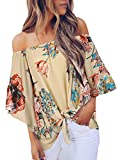 Asvivid Womens Fashion Floral Printed Off The Shoulder Tops Bell Short Sleeve Shirt Juniors Loose Chiffon Blouses L Apricot