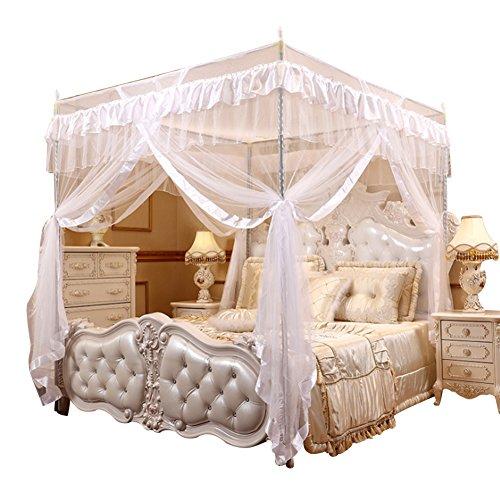 Yosoo Vier Eckpost Bett Baldachin Vorhang Moskitonetz Schlafzimmer Kinderzimmer Zimmer Prinzessin Stil Netting Bettwäsche Nette Dekoration (Farbe : Weiß, Abmessung : 1.5m*2m)