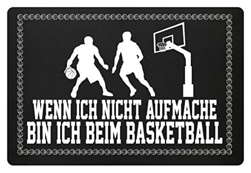shirt-o-magic Basketball-Fan: .bin ich beim Basketball - Fußmatte -60x40cm-Schwarz