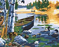 大人のための数字で描く初心者のためのキャンバス油絵キット大人のためのアクリルアートクラフト家の壁の装飾ボートと森の湖の風景16x20インチ