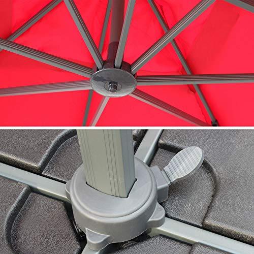 Alice's Garden Parasol déporté carré 3 x 3m Haut de Gamme - Falgos - Rouge - Parasol excentré inclinable, Rabattable et Rotatif à 360°.
