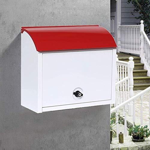 XQKQ Briefkasten Briefkasten Außen abschließbar Diebstahlsicher und regensicher Express-Aufbewahrungsschrank Briefkasten Halbkreisförmiges Haus Clamshell-Aktenschrank (rot)