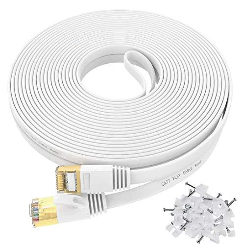Câble Ethernet 30m Cat 7 Plat Câble Haute Vitesse LAN- Connecteur réseau RJ45 pour Xbox, PS4/PS3, Modem, routeur, LAN, Compatible avec Les commutateurs Cat5e/Cat6a/Cat6