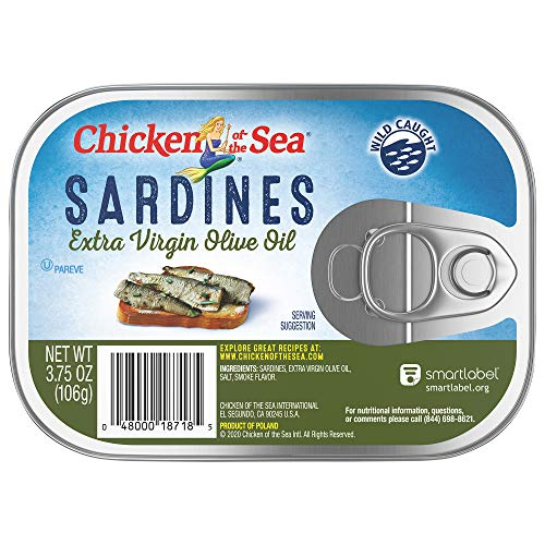 Chicken of the Sea Sardines, Extra Virgin Olive Oil, 3.75 oz (Pack of 18)