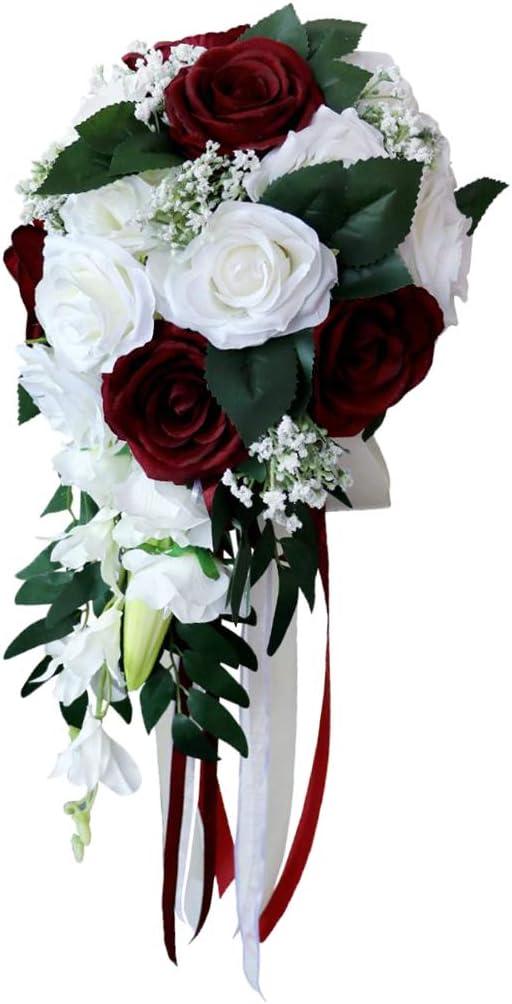 Boda Mano Ramo Nupcial Con Flores Artificiales Ramo de Novia Bouquet - Blanco + Vino Tinto