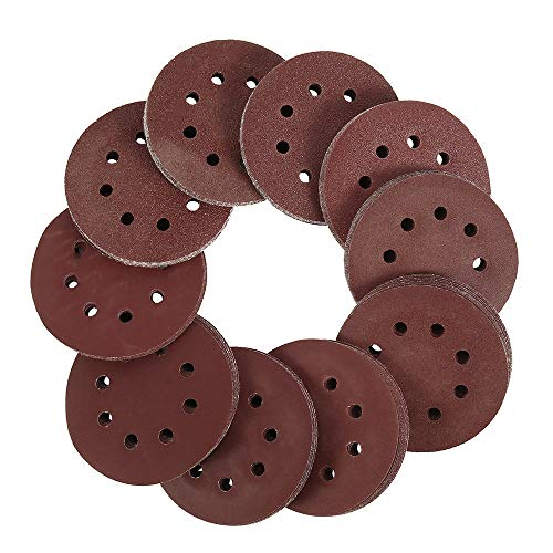 Papel de lija redondo de 5 pulgadas y 125 mm Disco de ocho orificios Hojas de lija Grano 40-600 Disco de lijado con gancho y bucle Abrasivos para pulir, 60 piezas, como se muestra