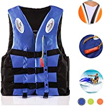 WAQIA HOME Adults Life Jacket Aid Vest Kayak Ski Buoyancy Fishing Boat Watersports Classic Series Vest Oversized, Life Jacket with Whistle, Life Vests Adults Lifejacket for Men Women Teens (Blue, XL)