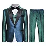 SWOTGdoby Boys Shiny Suits Slim Fit 3 Pieces Suit Set Fading Mermaid Colors for Party Prom