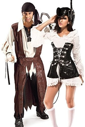 Fancy Me Couples Homme et Femme caribéen Rogue Pirate FÊTE méchant déguisement Costume déguisement - Marron, Marron, Ladies UK 10-12 & Mens STD