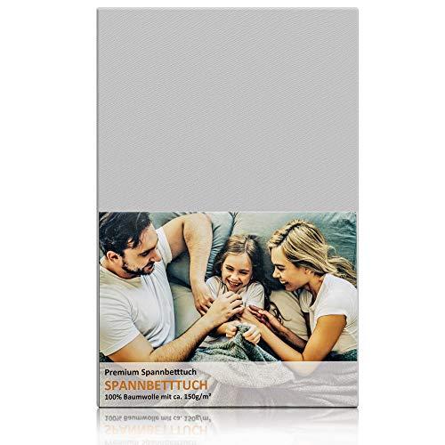 Blossom N8 Spannbettlaken mit 150 gr/m²/ für Babybett & Kinderbett / Größe 60x120 cm bis 70x140 cm / 100% Baumwolle Premiumqualität in grau / produziert in Europa