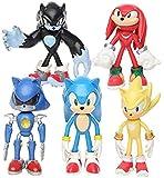 LJXGZY 5 Unids/Lote Sonic Tails Amy Rose Knuckles PVC Modelo de Muñeca de Acción Anime Fans Regalo Figura Escultura Colección de Juguetes Decoración Modelo Regalo de Cumpleaños Estatua