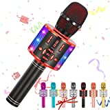 Amazmic Kids Karaoke Microphone Machine Toy Bluetooth Microphone Portable Wireless Karaoke Machine Handheld with LED Lights, Gift for Children Adults Birthday Party, Home KTV(Black Red)