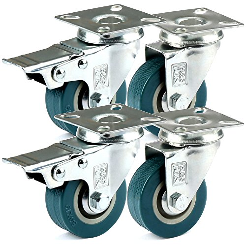 H&S Rueda giratoria de goma de servicio pesado con frenos