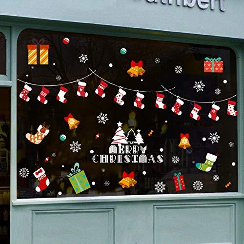 carta da parati Adesivi e murali da parete Decorazioni natalizie Calze natalizie ghirlanda negozio di telefonia mobile negozio allestimenti scenografici adesivi per finestre pendenti con fiocchi d