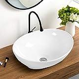 Giantex Vessel Sink 16x13 Inch Basin Porcelain W/Pop Up Drain Oval Bathroom Ceramic Sink Bowl