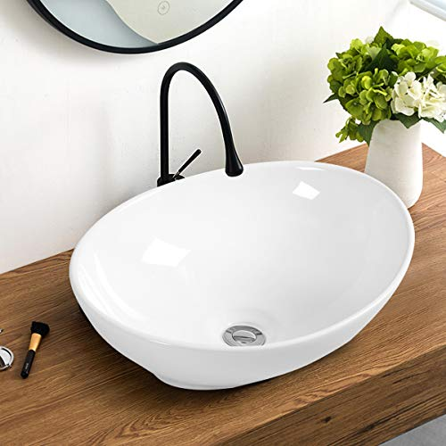 New Giantex Vessel Sink 16x13 Inch Basin Porcelain W/Pop Up Drain Oval Bathroom Ceramic Sink Bowl