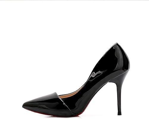 KOKQSX-Chaussures KOKQSX-Chaussures Chaussures Pointues Professionnelle Bien des Talons Les Fleurs Sauvages Bright Laque avec 5 cm Trente - Six noir