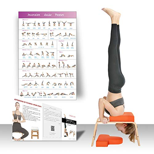 Restrial Life Sedia Yoga Inversion - Sedia di Inversione per Famiglia, Palestra - Cuscinetti in Legno e PU - Allevia la Fatica e costruisci Il Corpo (Orange)