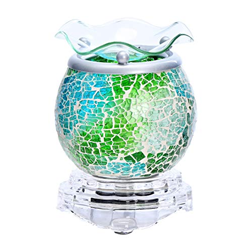 ASAWASA Handcrafted Mosaic Glass Electric Wax Melt Warmer, Fragrance Warmer Night lamp, for Home Bedroom Kitchen Garage Gifts Décor Aromatherapy Spa 3.7' x 3.7' x 4.17'(Blue-Green Ocean)