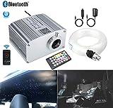 AZIMOM Bluetooth Control 10W Twinkle RGBW Fiber Optic Lights Star Ceiling Light Kit Sensor Music Mode APP Light Engine Remote for Indoor Car Interior Decoration 150pcs0.03in6.5ft Strands