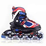 MammyGol Adjustable Inline Skates for Kids,Boys and Girls with Light up Wheels (1-RED, Small -...