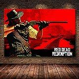 Aishangjia The Game Poster Decor Painting of The Red Dead Redemption 2 en HD Canvas Canvas Painting Arte de la Pared Lienzo 50x70 cm AD-363