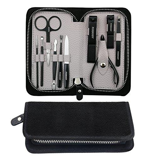 Fixbody Kit de manucure et pédicure avec coupe-ongles en acier inoxydable Noir