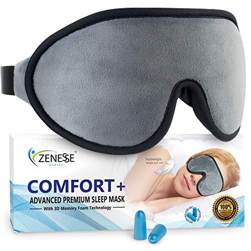Comfort+ Advanced Premium Sleep Mask for Women & Men. Superior 3D REM Sleep Cavities Blacks Out All Light - 1oz Featherlight Eye Mask for Sleeping Won't Irritate Nose, Hair or Eyelash Extensions