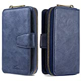 Nadoli für Samsung Galaxy A20S Hülle Handyhülle,Lederhülle Magnetverschluss 10 Kartenfächern Reißverschluss Brieftasche Flip Wallet Cover,Blau