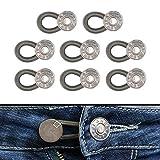 Bequeme Hosenbunderweiterung für Damen und Herren, geeignet für Jeans, Hosen, Anzughosen, Röcke, Hosenerweiterung bis 5 cm, 8 Pack 17 mm Jeansknöpfe mit Federband, Lieblingshosen weiter tragen können