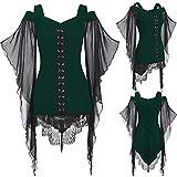 Sunggoko Vestido gótico para mujer, blusa de encaje, túnica, bruja, cosplay, vestido de Navidad, festivo, talla grande, vestido medieval, punk, carnaval., 3 verdes., XXL