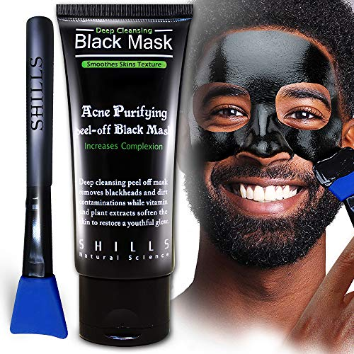 SHILLS Charcoal Mask for Men, Purifying Peel Off Mask, Black Mask Peel Off, Black Mask Deep Clean Pore, Blackhead Remover, 1 Bottle (1.69 fl. oz) and a Brush Set