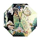 3-Pliable Parapluie Haute de Gamme Désigne Créatif Art 3D Impression Anti-UV SPF 40+ Ombrelle Femme Ultre-Léger Incassable Compact Parapluie Coupe-Vent Sun Umbrella Femmes Filles