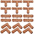 """iRunning 18 Pieces Irrigation Fittings Kit (17mm) for 1/2"""" Tubing (0.600""""ID) – Including 6 Tees, 6 Couplings, 6 Elbows – Barbed Connectors for Sprinkler and Drip Irrigation Systems …"""
