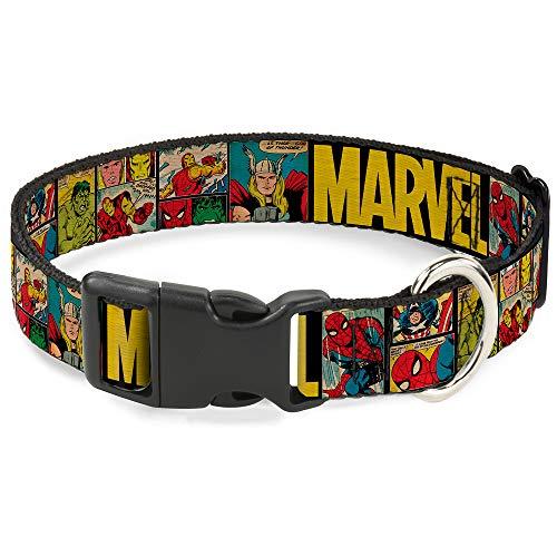 Collar de Perro con Clip de plástico Marvel Retro Comic Panels Negro Amarillo 8 a 12 Pulgadas 0.5 Pulgadas de Ancho