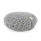 Lotuscrafts Zafu Meditationskissen Yogakissen Zen - Sitzhöhe 15cm - Yoga Zafukissen mit Dinkelfüllung - Waschbarer Bezug aus Bio-Baumwolle - GOTS Zertifiziert (Block Print)